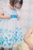 Girls Aqua Blue Mesh Overlay Dress Taffeta & Chiffon Flowers KD333