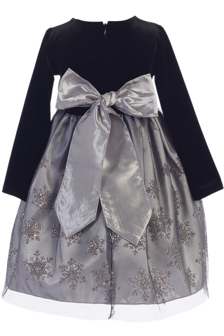 Silver Glitter Snowflake Girls Holiday Dress w. Long Sleeve Velvet Bodice  C504