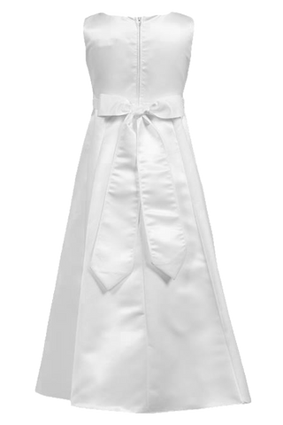 Satin A-Line Girls Communion Dress w. Lace Trim 5-10