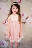 Girls Sage Green Chiffon Shift Dress w. Ivory Petal Trim KD284