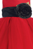 Red Tulle & Poly Silk Blossom Flower Girls Dress w Black Sash (BL228)