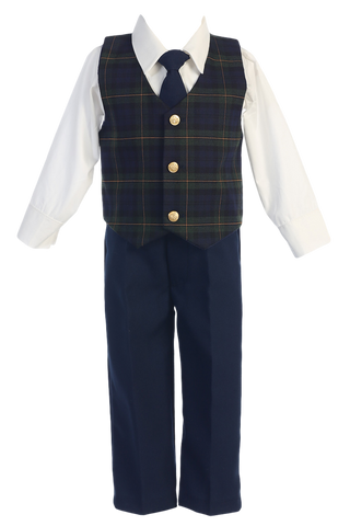 Green & Blue Plaid Vest & Black Pants 4pc Boys Christmas Holiday Outfit 6M-7 (C565)