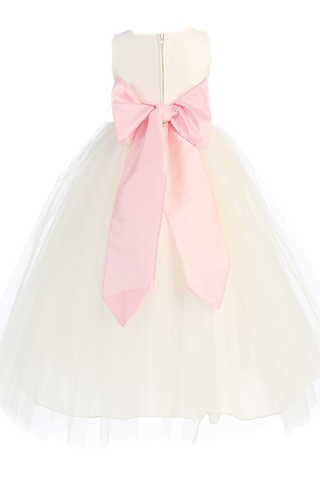 Ivory Tulle & Poly Silk Blossom Flower Girls Dress w Pink Sash (BL228)