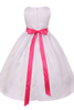 Coral Pink Dimensional Flowers on White Shantung Girls Dress (204-F)
