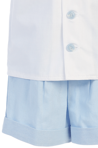 Boys Light Blue Linen Blend Shorts & Shirt Dressy Set 3m-4T