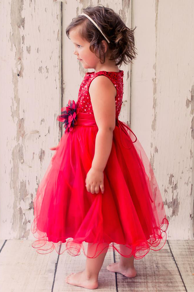 Red Sequins, Satin & 2 Layer Mesh Baby Girls Formal Occasion Dress (315)