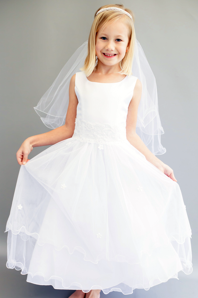 0c4f4083253 Girls Lace Trim Communion Dress w. Tiered Lettuce Trim Tulle Skirt 6 ...