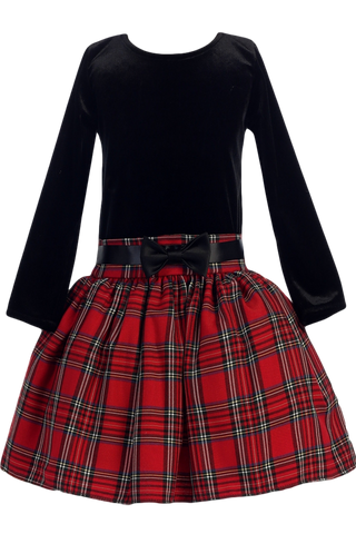 Black Stretch Velvet & Red Plaid Drop Waist Girls Holiday Dress 2T-10 (C963)