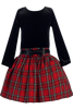 Black & Red Plaid Girls Drop Waist Velvet Holiday Dress  C963