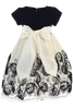 Red Velvet & Ivory Tulle Girls Holiday Dress w. Floral Soutache Skirt