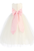 Ivory Polysilk Flower Girl Dress w. Ballerina Tulle Skirt & Custom Sash  BL228