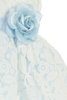 Girls Light Blue & White Floral Lace Dress with Shantung Sash 6M-10