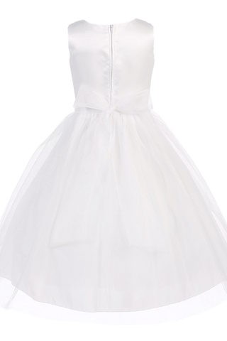 Embroidered Lace on Satin & 2 Layer Tulle First Holy Communion Dress (SP140)