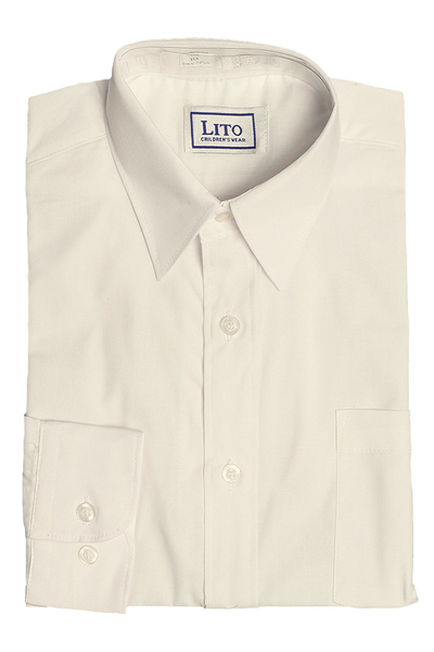Boys Ivory Long Sleeve Classic Dress Shirt  852