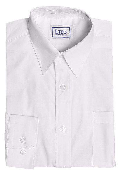 Boys White Long Sleeve Classic Dress Shirt  852