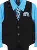 Black Pinstripe & Aqua Blue Boys 5-pc Pants & Vest Set 8571