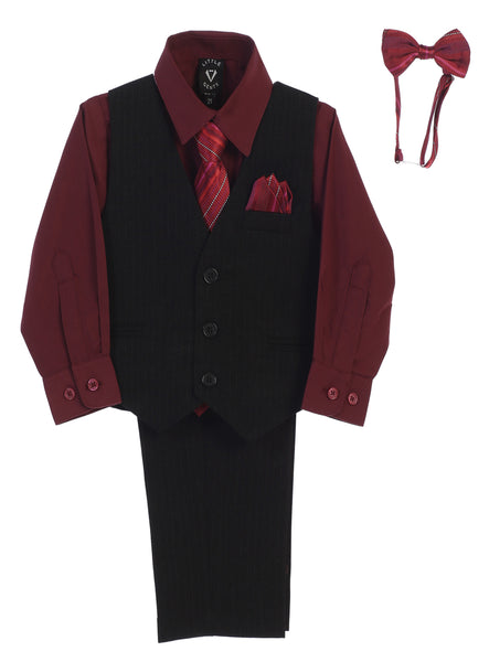 Black Pinstripe & Burgundy Boys 5-pc Pants & Vest Set 8571