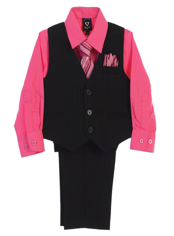 Black Pinstripe & Fuchsia Pink Boys 5-pc Pants & Vest Set 8751