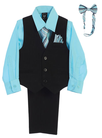 Black Pinstripe & Hawaiian Blue Boys 5-pc Pants & Vest Set 8571
