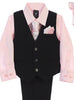 Black Pinstripe & Light Pink Boys 5-pc Pants & Vest Set 8571
