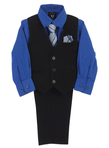 Boys Black Pinstripe Vest & Pants Set w. Royal Blue Shirt 8571