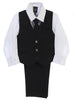 Boys Black Pinstripe Vest & Pants Set w. White Shirt 8571