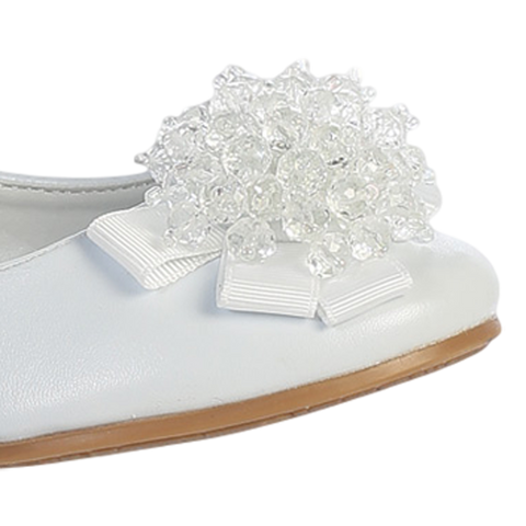 White Dress Shoes w Crystal Beads & Strap (ANNA)