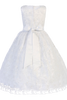 Rhinestone Trimmed Girls Plus Size Embroidered Tulle Communion Dress SP993