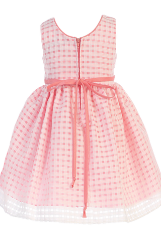 Coral Satin & Burnout Organza Overlay Girls Easter & Spring Dress (M732)