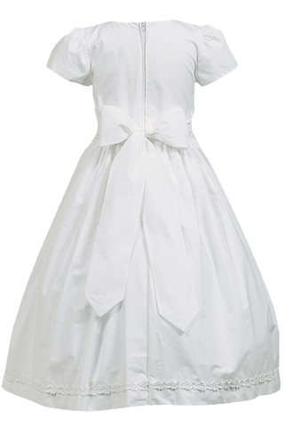 Smocked & Lace 100% White Cotton First Holy Communion Dress (SP108)