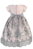 Pink Shantung & Silver Embroidered Tulle Girls Dress w. Sequins  C992