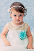 Mint Green Satin & Polka Dot Organza Baby Dress (247)
