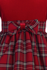 Red Plaid & Stretch Velvet Long Sleeve Girls Holiday Dress  C503
