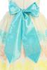 Ivory & Teal Embroidered Organza Overlay Girls Easter Spring Dress (M704)