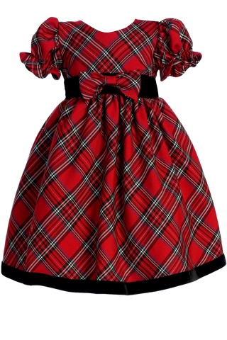 Red & Green Plaid Girls Ruffle Sleeve Holiday Dress w. Velvet Trim 3M-4T (C814)