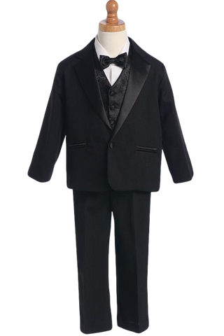 Dinner Jacket Single Button Tuxedo w Vest & BowTie Boys (7590)