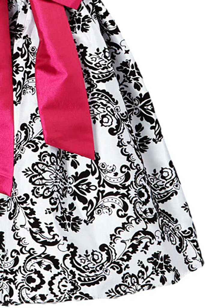 011ba1851720 Pink Sash KD294 · Black Flocked Damask on White Taffeta Baby Girls  Christmas Dress (294) ...