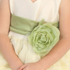 APPLE GREEN - BL90P POLY SILK SASH & FLOWER PIN