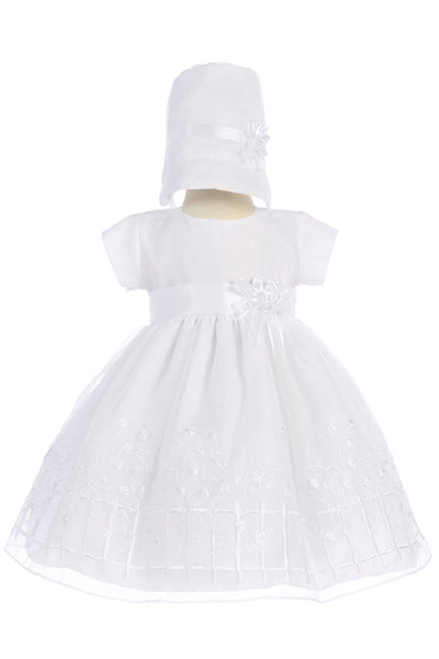 Girls Organza Baptism Dress w. Embroidered Climbing Roses  Ava