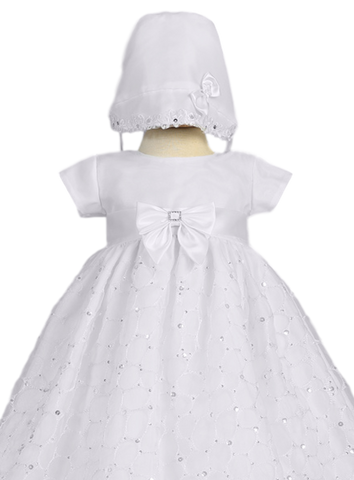 White Satin Baby Girls Christening Gown w. Web Embroidered Organza Alexis