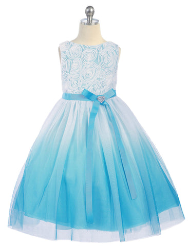 Aqua Blue Ombré Tulle Girls Dress with Rosette Bodice  KD322