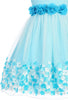 Girls Aqua Blue Mesh Overlay Dress with Taffeta & Chiffon Flowers  KD332