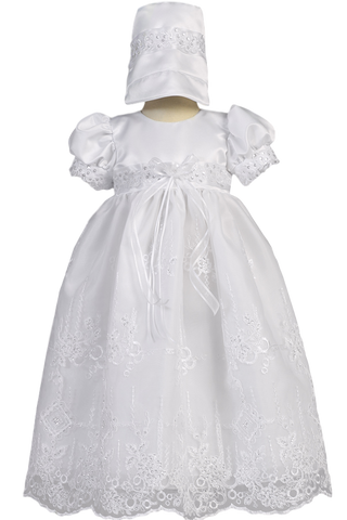 Floral Embroidered Organza & Lace Girls Christening Gown  Ashley