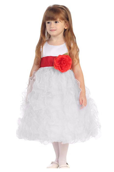 (Sale) Size 4T White & Red Satin & Organza Ruffled Flower Girl Dress