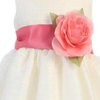 CORAL - BL90P POLY SILK SASH & FLOWER PIN