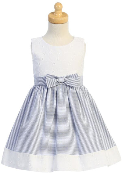 Blue Seersucker & White Eyelet Girls Spring Holiday Dress M761