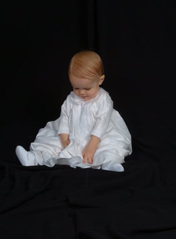 Handmade Boys Cotton Bishops Christening Gown w. Venice Lace  CB420G