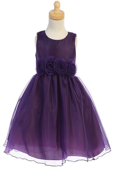 Purple Crystal Organza Overlay Girls Holiday Dress w Floral Front Waist C517
