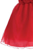 Red Crystal Organza Overlay Girls Holiday Dress w Floral Front Waist C517