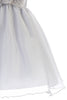 Silver Crystal Organza Overlay Girls Holiday Dress w Floral Front Waist C517
